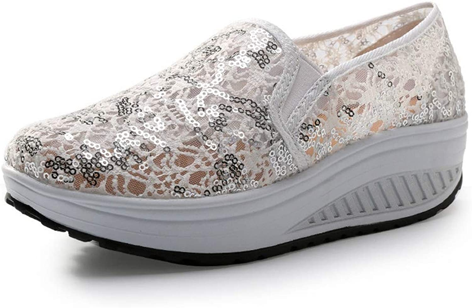 T-JULY Spring Casual Bling Glitter Lace Platform Loafers Women Summer Creepers Slip On Comfortable Flats shoes