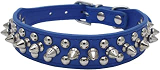 """Dogs Kingdom 10""""-24"""" Length Soft Leather Mushrooms Rivet and Spikes Studded Adjustable Buckle Pet Puppy Dog Collar for Small Medium Large Dogs Breeds"""