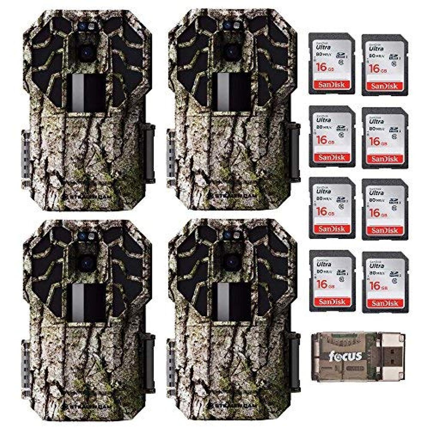 こねる興味許可Stealth Cam G-Series 22.0 MP, HD Video No Glo Trail Camera (4-Pack) + 8 Memory Cards + Focus USB Reader [並行輸入品]