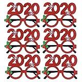 Amosfun 6pcs Accessori per Occhiali di Natale 2020 Montatura 2020 Occhiali da Vista Fiocco di Neve Costume Festival Accessori Occhiali