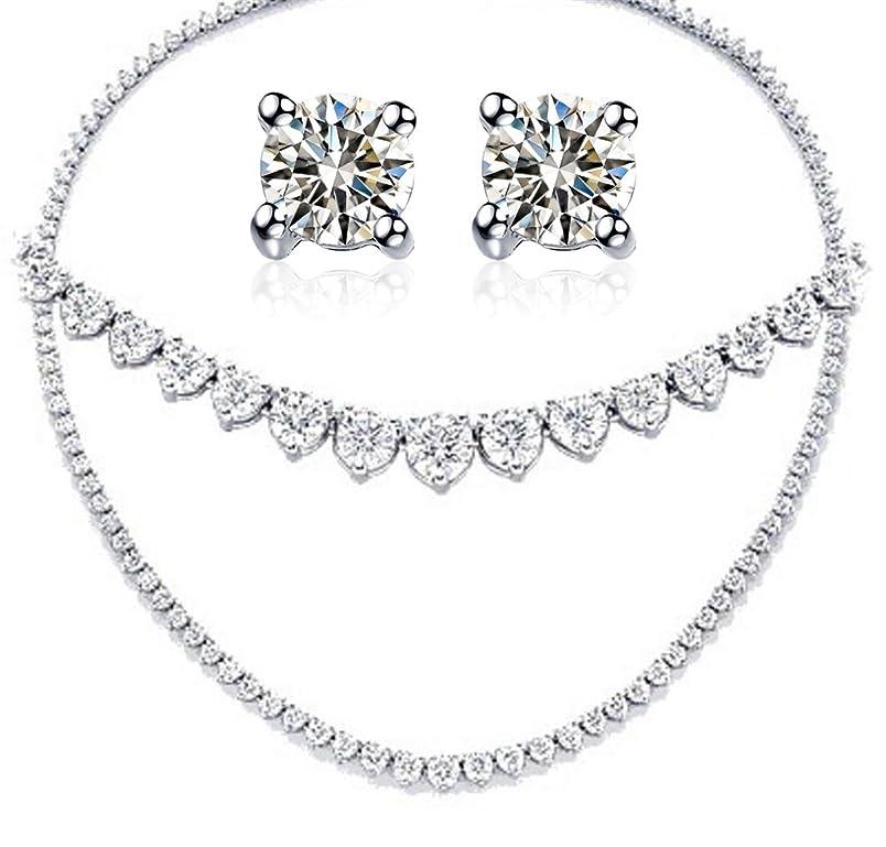 TOP GRADE Graduated Martini 3 Prongs Designer 15 Carats Simulated Diamond Tennis Necklace Earrings Set ew198609787