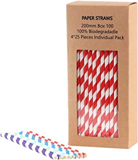 Sample Paper Straws Biodegradable, Perfect for Juices Shakes Smoothies Arts & Crafts Cake Pop Sticks, Assorted Rainbow Colors, 4×25 PCS Individually Wrapped