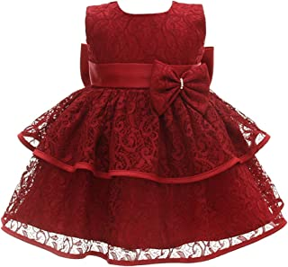 besbomig Cute Infant Bowknot Floral Princess Dress Sleeveless Christening Outfits - Baby Girls Wedding Party Pageant Gowns Sweet Tutu Dress