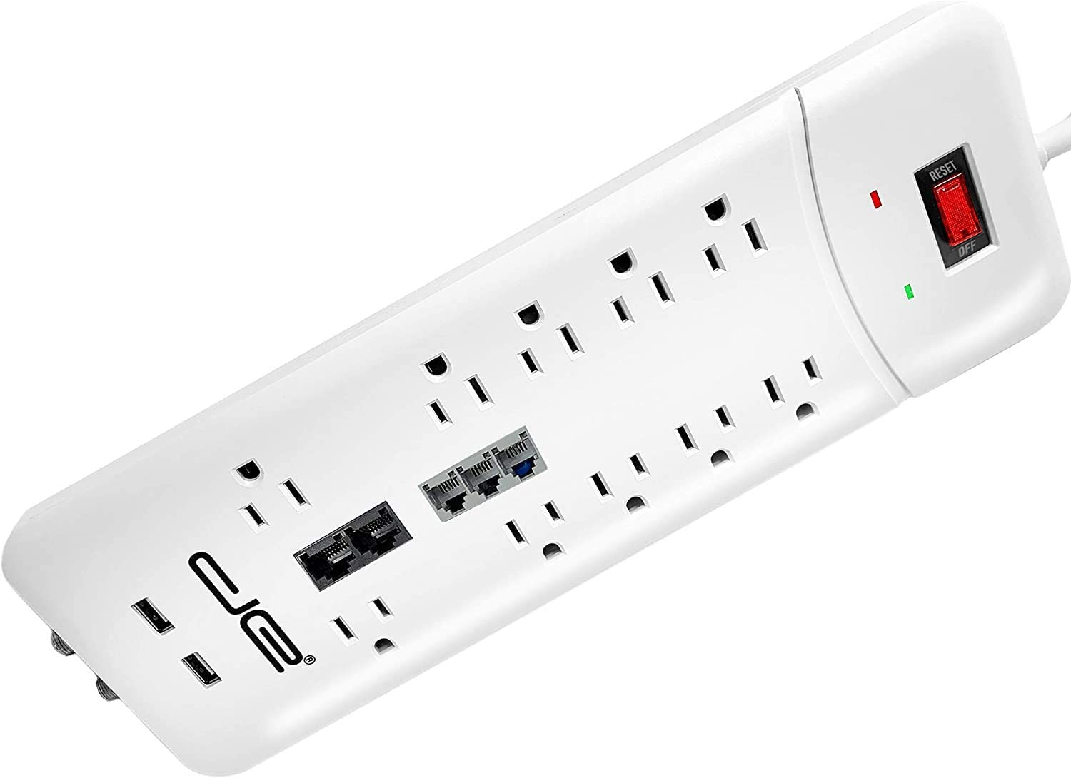 10 Outlet Surge Protector 8 FT White