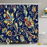 Set tenda per doccia con ganci Pittura Grunge Rinascimento Femminile Acqua dipinta a Mano Persiano India Colore BLU Botteh Boteh Trame Tessuto in Poliestere impermeabile Bagno Decor per bagno