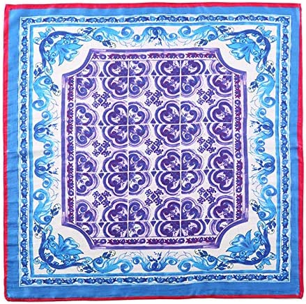 Chinese Blue Women's Square Scarf 100% Pure Silk Necktie of Fashion Collections 55Cm 55Cm