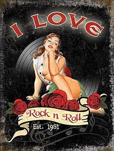 I love rock n rouleau Est 1951. Années 50 sexy pinup. Roses et vinyle. house,home,salle de musique,barre,pub,cafe/boutique Joan Jett & le Blackhearts 1981 lyrique from hit chanson. Métallique/ - Acier, 30 x 40 cm