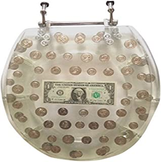 """Daniel's Bath & Beyond Polyresin Round Toilet Seat with Dollars and Coins, 17"""", Clear"""