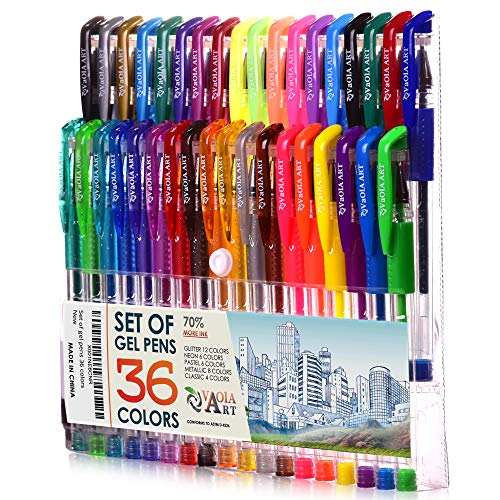 Color Gel Pens - Gel Pens for Kids - Coloring Pens - Gel Pens Set - Pen Sets for Girls - Spirograph Pens - Pen Art Set - Artist Gel Pens - Sparkle Pens for Kids - 36 Gel Pens - Arts Pens