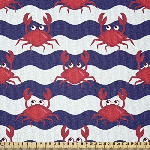 ABAKUHAUS Granchi Tessuto a Metraggio, Granchi su Strisce, Tessuto a Maglia Elasticizzato per Abbigliamento, Cucito e Arti, 1 m, Rosso e Blu Navy