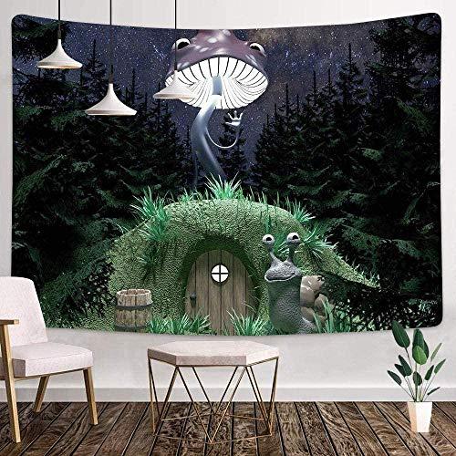 JXZIARON Tapiz Art Paño para Colgar en la Pared Impresión HD Cocina Dormitorio Sala de Estar Decoración,Barril de Madera Monster Snail House 100cm x 150 cm