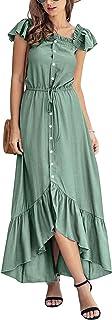 AmzBarley Womens Maxi Dresses Off Shoulder Short Sleeves High Waist Irregular Split Summer Casual Dress Size