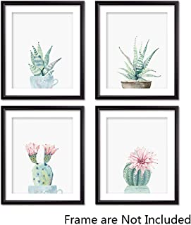 Potted Cactus Canvas Prints Wall Art-Watercolor Botanical Art Print-Set of 4-Unframed-8x10 inches
