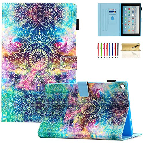 Dteck Case for Fire HD 10 7th/5th Generation 2017/2015 Release  Premium Leather Folio Stand Smart Cover with Auto Wake/Sleep for AllNew Amazon Kindle Fire HD 101 inch Tablet Galaxy Flower