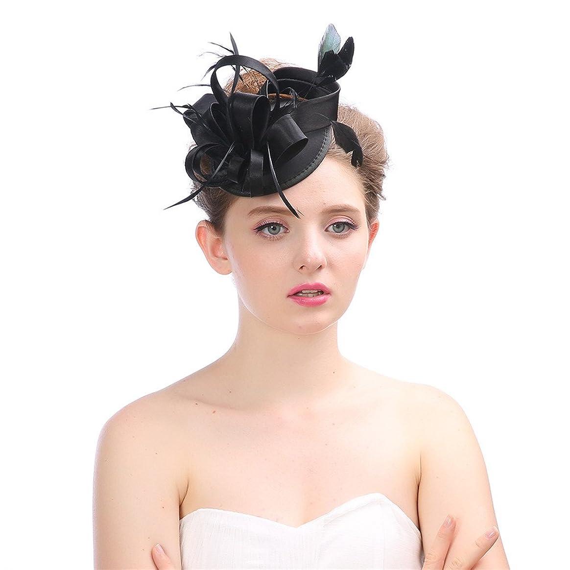 書誌苦しみサイレント女性の魅力的な帽子 女性のヴィンテージの魅力的なカクテルパーティーパーティー帽子羽花ヘアクリップヘアバンド花嫁シナマイパーティー結婚式 (色 : Grey)