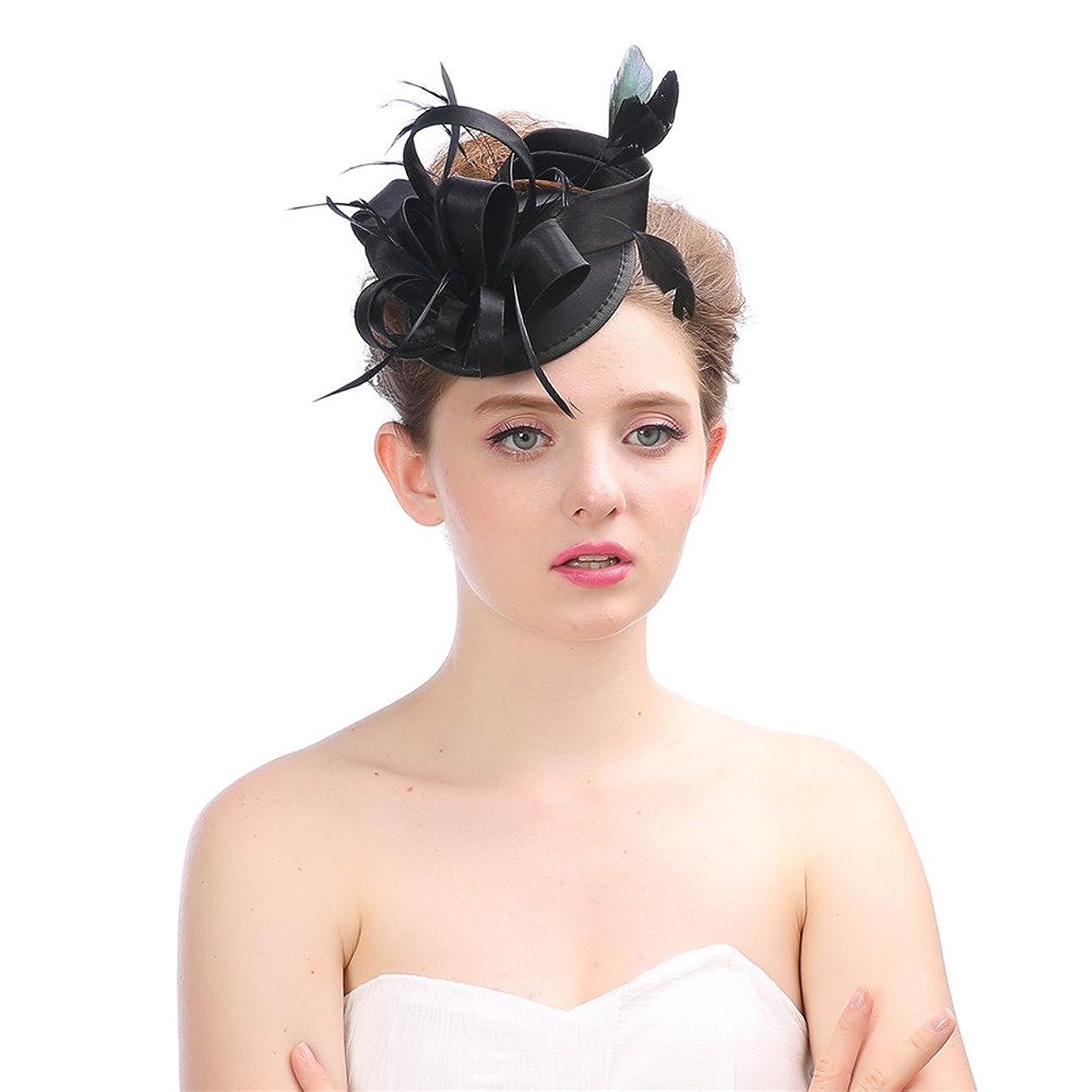 幸運世界に死んだ手配する女性の魅力的な帽子 女性のヴィンテージの魅力的なカクテルパーティーパーティー帽子羽花ヘアクリップヘアバンド花嫁シナマイパーティー結婚式 (色 : Grey)