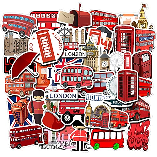LVLUO Etiqueta engomada Impermeable del PVC de la Cabina del teléfono del autobús Rojo de Londres Etiqueta engomada del Juguete del Equipaje de la Vespa del Ordenador portátil 50pcs