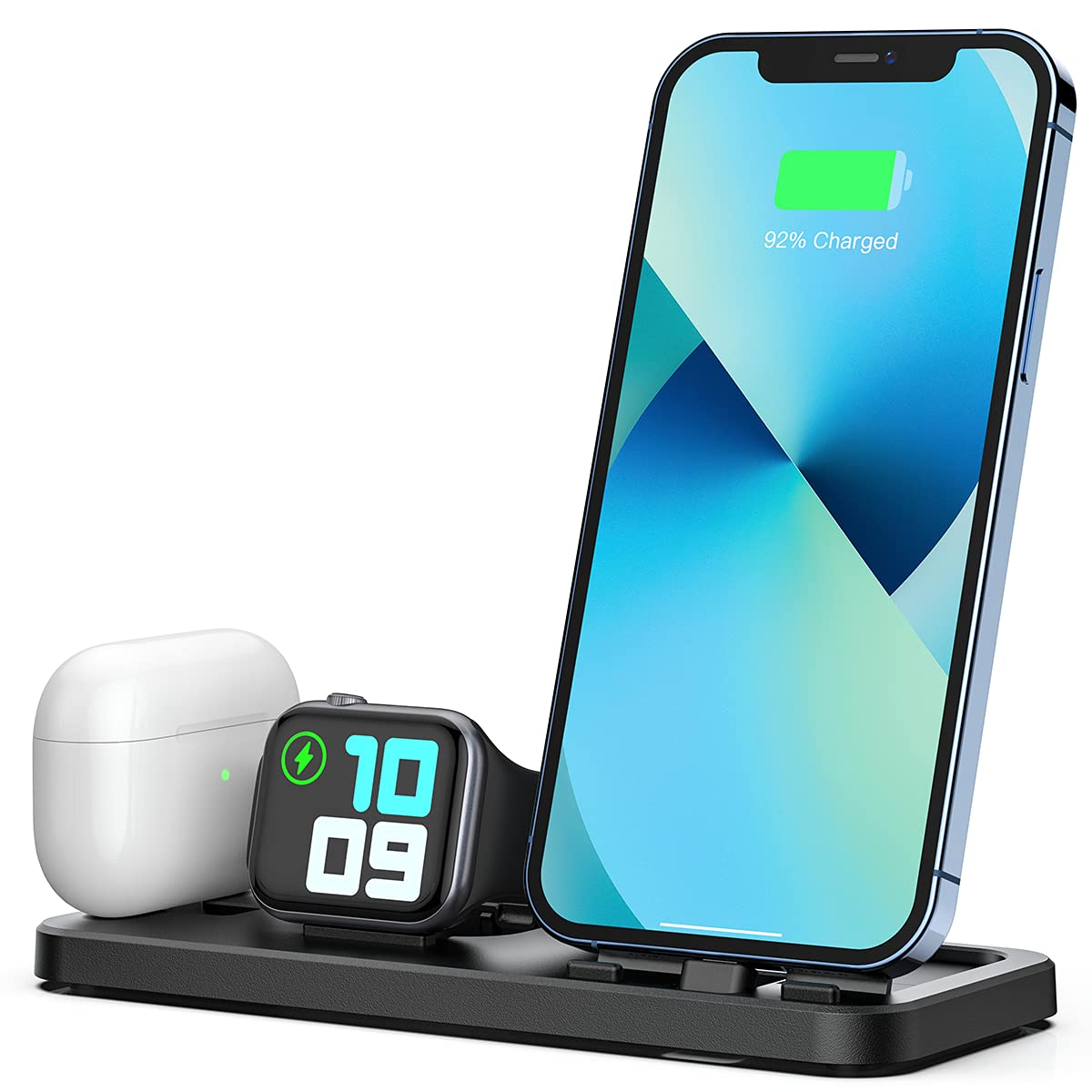 LERCIOR Portable 3 in 1 Charging Station for Apple Devices Foldable Charger Station for Apple Watch 6/SE/5/4/3/2/1 Charger Stand, Charging Dock Station for iPhone AirPods Pro 2/1 Charging Stand Black