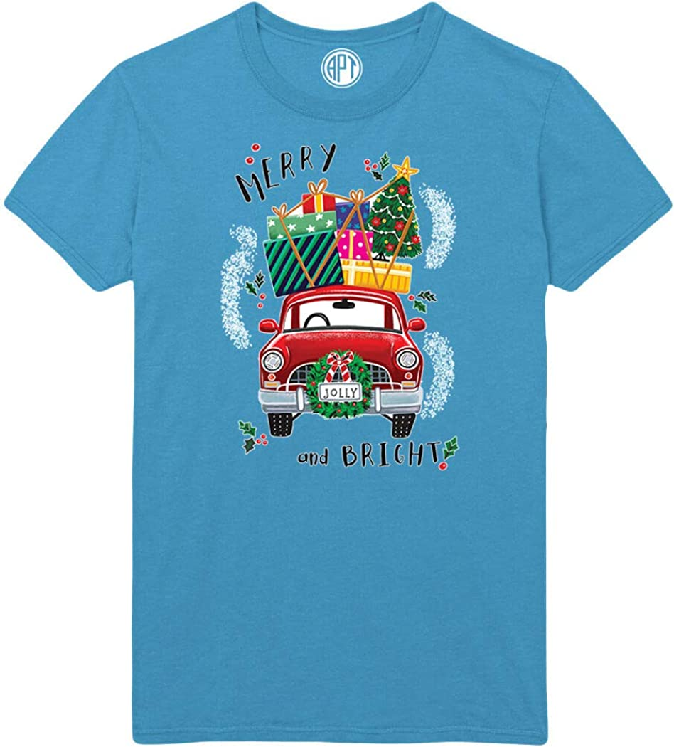 Merry and Bright Car with Wreath Printed T-Shirt