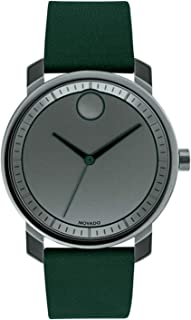 Movado Bold 3600570 Grey Dial Green Leather Band Men's Watch