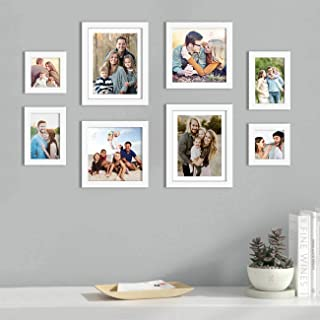 Art Street Set of 8 White Wall Photo Frame, Picture Frame for Home Decor with Free Hanging Accessories (Size -5x5,5x7,8x8,...