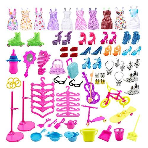 Daity 88pcs Kleidung zubehör Set für Barbie Puppen, Schuhe Röcke Brille Schmuckstücke Trockengestelle Küchenwaren für die 11-Zoll-Barbie-Puppe