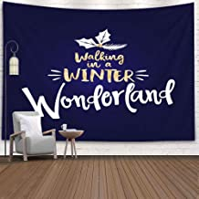 EMMTEEY Hanging Wall Tapestry, Tapestries Decor Living Room Bedroom for Home 80X60 Inches for Walking in Winter Wonderland Calligraphy Phrase Christmas Xmas Greeting Cards Good Mug Scrap Booking Gift