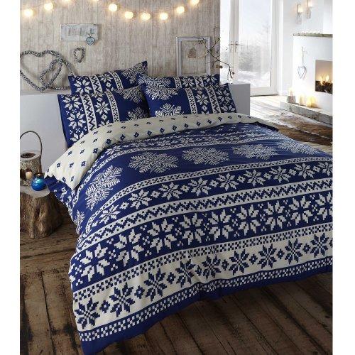 Dwustronna pościel w stylu retro, skandynawskie płatki śniegu, King Size niebieski