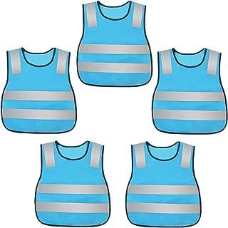 AIEOE 5 Stück Warnweste für Kinder Waschbare Sicherheitweste Set Reflektierende Schutzweste   Einheitsgröße
