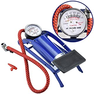 Ajudiya's High Pressure Foot Pump, Bike Motorbike Inflation Pump with Pressure Gauge, Foot Pedal Inflator Single Barrel Cylinder Air Pump Inflation Pump for Motorcycles, Bicycle Tyre Balls, Tires Car