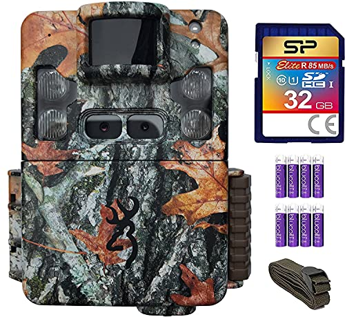 Browning BTC-5PXD Strike Force Pro XD 24MP Trail Camera with 80-FT Detection Range for Hunting Bundle with 6-FT Tree Strap Mount, Silicon Power 32GB Class 10 SD Card, and Blucoil 8 AA Batteries