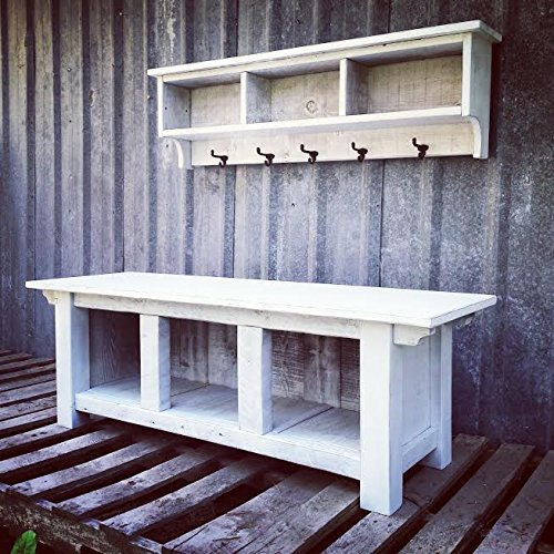 Rustic Three Cubby Bench and Direct sale of manufacturer White Set - Al sold out. Shelf