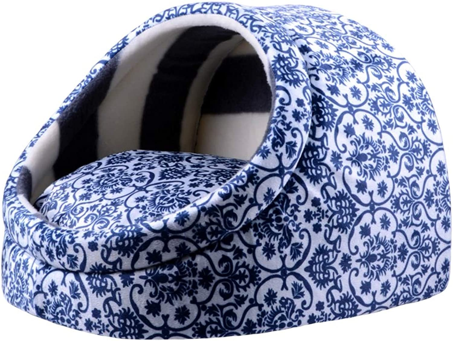 Indoor Cat Dog Cosy Warm Bed Pets Igloo Puppy House Hideout Cave, Cushion Detachable Washable,001,S