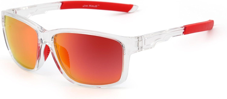 JIM HALO Polarizadas Deporte Gafas de Sol Espejo Envolver Alrededor Conducir Pescar Hombre Mujer