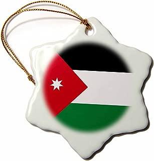 3dRose ORN_158345_1 Flag of Jordan Jordanian Red Black White Green White Star Arabic Country Arab World Snowflake Ornament, Porcelain, 3-Inch