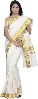 Women's Kerala Kasavu Lace Brocade, Pallu Saree With Blouse
