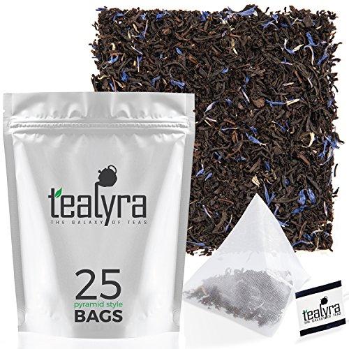 Tealyra - Earl Grey Premium - 25 Bags - Classic Black Loose Leaf Tea - Medium Caffeine - All Natural - Pyramids Style Sachets