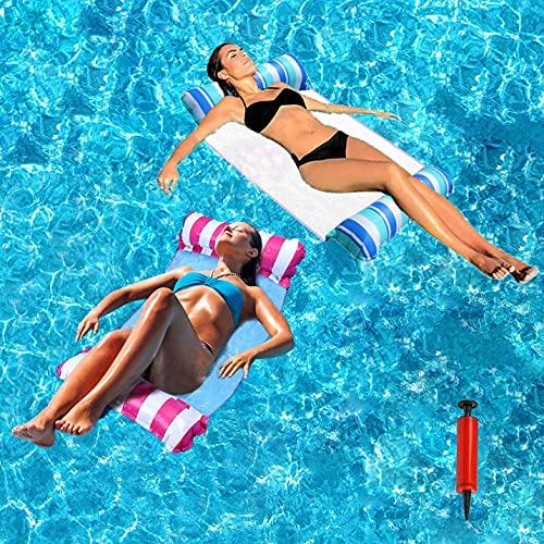 DZQRN Hamaca hinchable de agua, 2 piezas, hamaca de agua, 4 en 1, multifuncional, colchón flotador, para piscina, hamaca hinchable para...