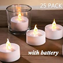 Flameless LED Tea Lights,Pack of 25,Realistic and Bright Flickering Bulb Battery Operated Electric Fake Candles for Wedding,Table,Gift,Outdoor & Festival Celebration