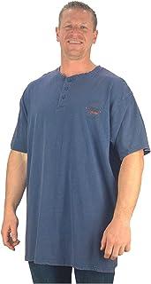 Kam Big Mens Indigo Blue Able Grandad Style Acid Wash Shirt Cotton Top Sizes 3XL 4XL 5XL 6XL