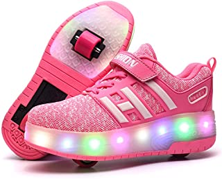 Unisex Kids Boys Girls LED Trainer Roller Skates Shoes with Double Wheels Low-top Retractable Outdoor Sports Cross Trainers Gymnastic Running Sneakers