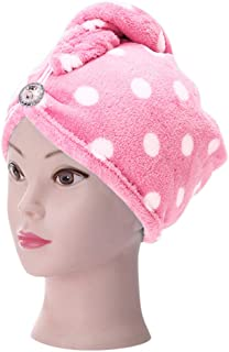 Gotian Microfiber Bathing Dry Hair Cap Quick Drying Wrapped Towel Adult Shower Bathing Head Cap (Pink)