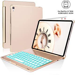 iPad Pro 11 Case for iPad Pro 11 inch 2018 with Keyboard, 7 Colors Backlight, Auto Sleep/Wake, Wireless Buletooth Connect, iPad Pro Keyboard 11, Pencil Charging, Gold