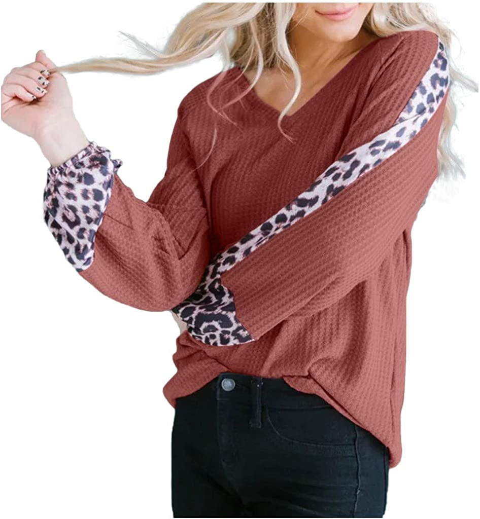 Waffle Knit T Shirt Long Sleeve Spring Women NRUTUP Leopard Stripe Bishop Sleeve Tunic Tops for Leggings Casual Blouse