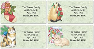 Christmas Kitty Self-Adhesive, Flat-Sheet Border Address Labels (4 Designs)