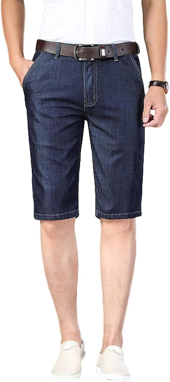 ZYUEER Men's Straight Slim Fit Denim Shorts Five-Point Jeans Button Zipper Placket