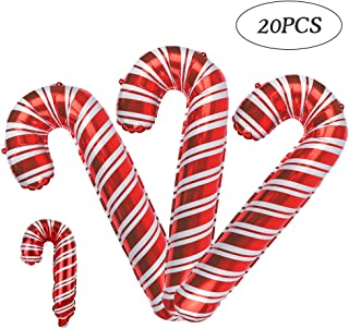 RUBFAC 20 Christmas Candy Cane Foil Balloons, Christmas Day Balloon Decoration (16 33-Inch Oversized, 4 Mini Styles for Kids), Great Christmas Decorations
