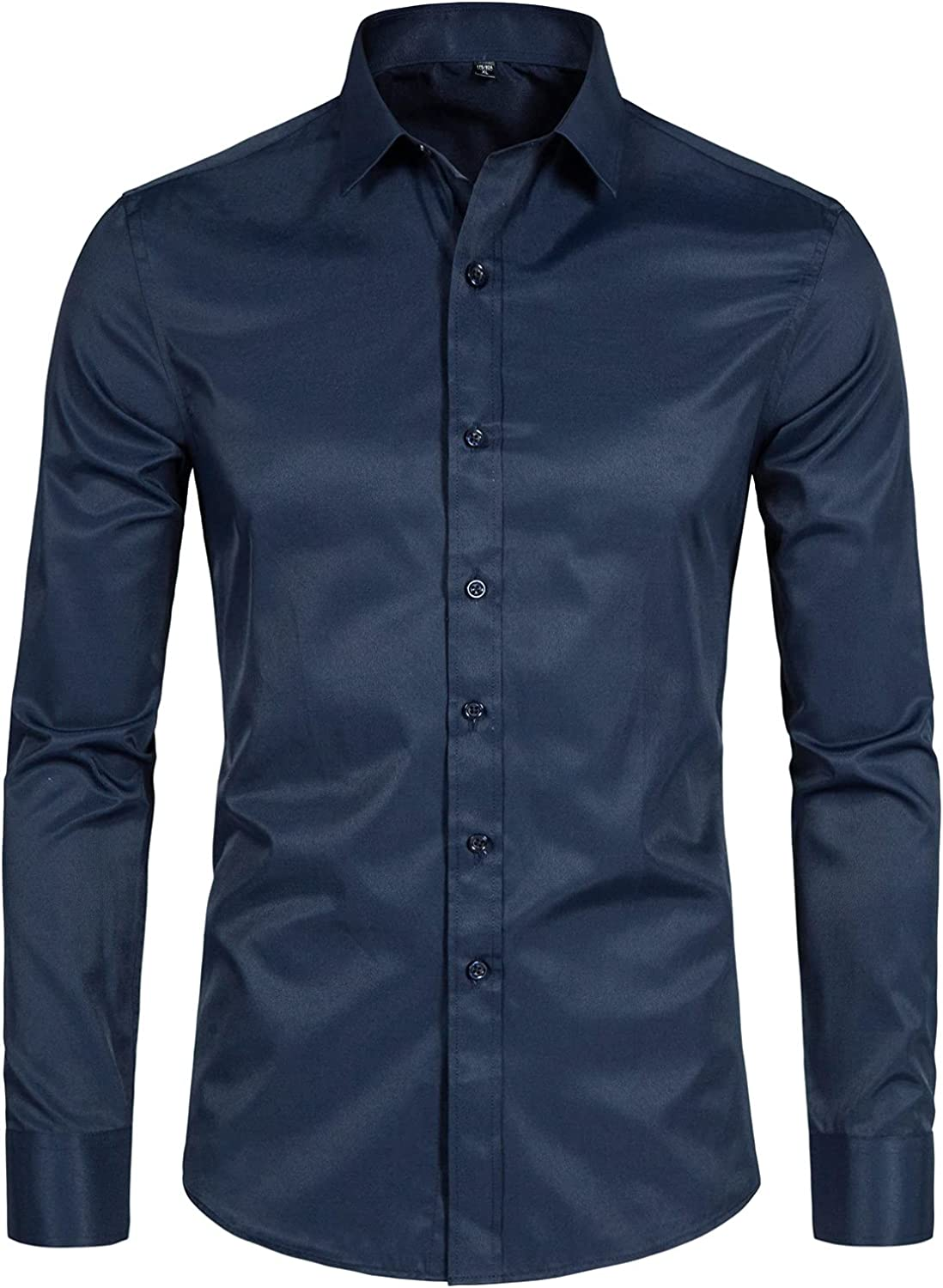 DELCARINO Men's Long Sleeve Button Up Casu Some reservation Fit New York Mall Slim Shirts Solid