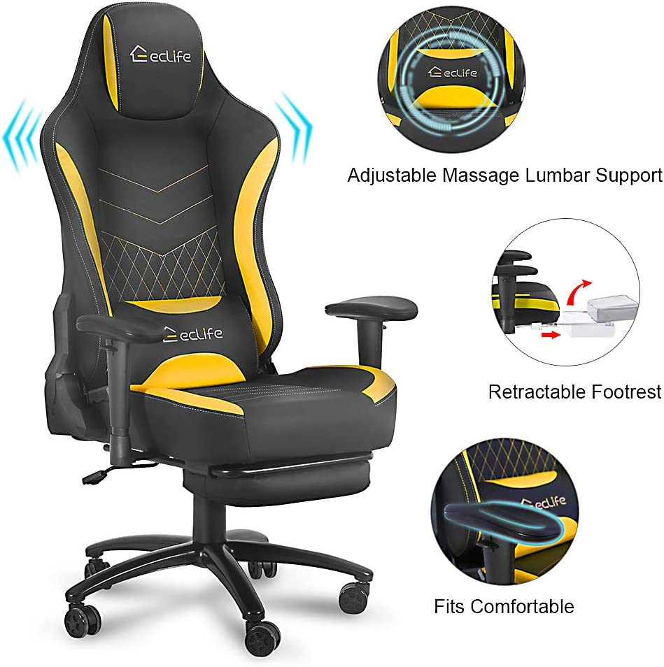 Blue eclife Gaming Chair PC Ergonomic Racing Office Chair Massage Composite Linen Recliner Computer Desk Chair W//Lumbar Support Headrest Armrest Rolling Swivel Task Chair