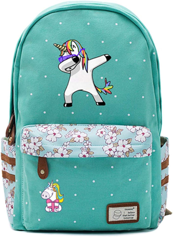 Cute Cartoon Unicorn Backpack School Bags Travel Bag for Teenagers Girls Flowers Wave Point Printing 27